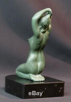E 1920 Superb Statue Sculpture Metal Art Nouveau Deco 19cm1.4kg Woman Bare Pedestal