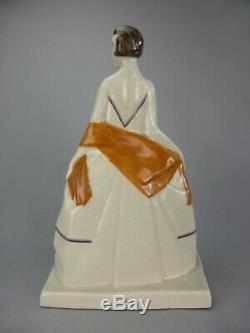 Elegant Figurine Statue Female Art Deco Ceramic Cracked Sign Baucour