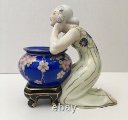 Encrier Porcelain Sculpture Art Deco Aladin Luxury France Women Vase Blue Flowers