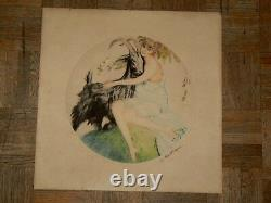 Engraved Old Female Goat Signed G Fonseca Year 30 Art Deco Artist Proof