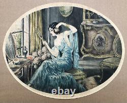 Engraving Aquatinte Art Nouveau Art Deco Women Mirror Fashion Flower Style Louis Icart