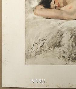 Engraving Art Deco Yves Diey Portrait Erotique Femme Allongée Nue Feminine Signée
