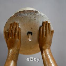 Enrique Balleste Art Deco Woman Sculpture Lamp Enamelled French Lamp