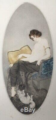 Etching And Aquatint Art Nouveau Art Deco Peacock Feather Naked Woman Chat Style Icart