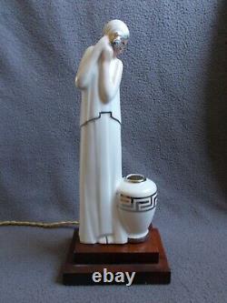 Eyelight Art Deco 1920/30 Porcelain Argilor Woman Statuette Sculpture Lamp