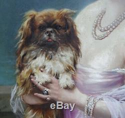 F. Martin-kavel Portrait Of Young Woman In Dog Twentieth Century Art Deco Hst
