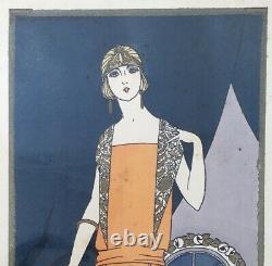 Fashion Art Deco Print Portrait Elegant Woman Albert Jarach Paul Chambry 1920s