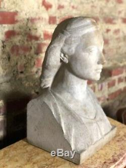 Female Bust Carved Stone Art Deco Signed Firmin Michelet