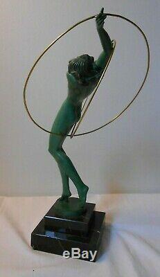 Female Dancer Sculpture Regulates Art Deco Fayral Faguays Pierre Le Verrier