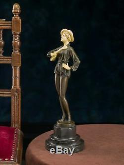 Female Figure With Mandolin Postflow Ferdinand Preiss Art Deco