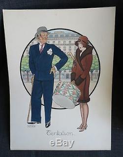 Fernand Couderc Era Art Deco Painting Tentation Man Woman Fashion