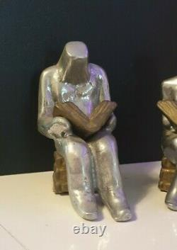 Former Bookends Art Deco Bronze Couple Men's Woman Who Reads