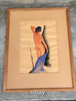 Former Gouache Signed Gustave Buchet Naked Woman Art Deco Nude Woman Modernist
