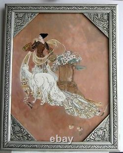 Frame Ancient Art Deco Painting Oil (of Felt) Woman And White Dog