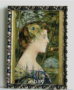 Frame Art Deco Wood Silver Painting Oil Portrait Woman Gold Leaf