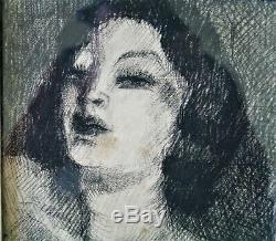 Fusain-art Deco-year Folle-bernard Lamotte-danseuse-1930-young Woman-portrait