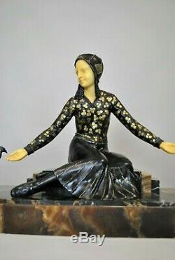 G Gori, Woman With Partridges, Sculpture Art Deco, Xxth Century