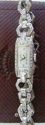 Garrard Watch Lady Art Deco Year 25/30 Platinum And Diamonds Signed Garrard