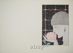 Georges Lepape Young Woman With Pink Original Engraving Signed #art Deco