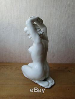 German Porcelain Statue Heinz Schaubach Dresden Naked Naked Woman Art Deco