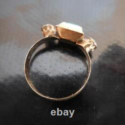 Gold Emerald Ring Precious Sapphire Gem Stone Woman Art Deco France N4033