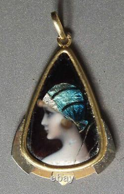 Gold Pendant With Emaux De Limoges Woman Art Deco Sign C Lucien
