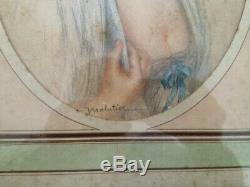 Gorgeous Portrait Of Woman Era Art Deco 1930 Pastel Signed Malatier