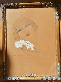 Gouache Portrait Woman Art Deco (kiki De Montparnasse) Eric Gill (1882-1940)