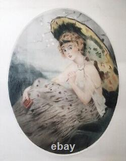 Gravure Aquatinte Art Deco Attr William Ablett Portrait Femme Mode Ombrelle 1920