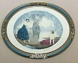 Gravure Aquatinte Art Deco Women Elegant Lake Tonnelle Glycines Frame 1910s