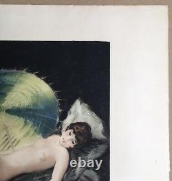 Gravure Art Deco William Ablett Portrait Femme Nue Parasol Estampe Moderne 1928