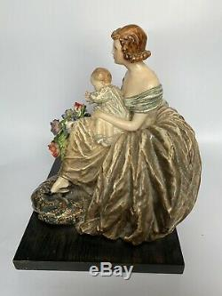 Guido Cacciapuoti Old Woman And Baby Porcelain Art Deco Lady Italy