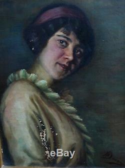 H. Ducom Hst Woman Portrait French School 19th Century Art Deco