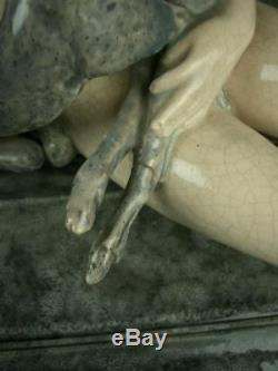 Important Ceramic Sculpture Craquele Art Deco Woman Nude & Biches Ary Bitter