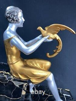 J Dauvergne Superbe Rare Statue Art Deco Women At Perroquets C 1925 Sculpture