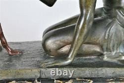 J Lormier, Woman Seated In Greyhound, Bronze Art Deco Signed, 20th Century