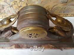 Jacques Limousin Pendulum Art Deco Sculpture Women Signed