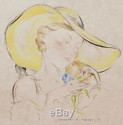 Jean Adrien Mercier Drawing Illustration Watercolor Portrait Woman Bouquet Hat