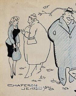 Jean Chaperon, Drawing, Humor, Woman, Caricature, France