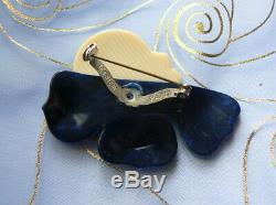 Jewel Vintage Brooch Pin Lea Stein Corolla Woman Profile Art Deco