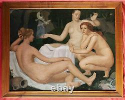 Joseph Lailhaca Painting Oil Landscape Arcadian Women Nude Bordeaux Art Deco