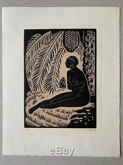 Jules Migonney Woodcut Orientalist Africanist Art Deco Nude Woman In 1923