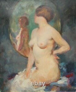 Julien Tavernier (1879-c. 1938) Nude Of Woman In The Mirror, Art Deco