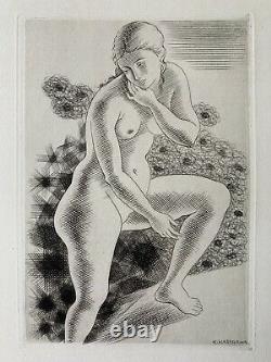 Kiyoshi Hasegawa Engraving Original Strong Water Etching 1929 Nude Woman Art Deco