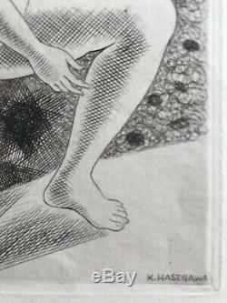 Kiyoshi Hasegawa Gravureeau Strong Etching Original 1929 Art Deco Nude Woman