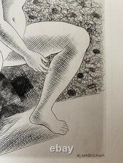 Kiyoshi Hasegwa Engraving Water Strong Original Etching 1929 Naked Woman Art Deco