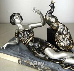 L. 1920/1930 Brunswick Rare Statue Sculpture Art Deco Woman Elegant Peacock Bird
