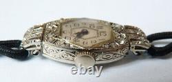 Ladies Watch Gold + White Diamonds Mechanical Art Deco Platinum Watch Diamonds