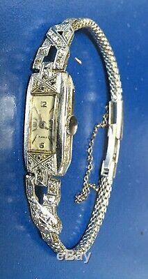 Ladies Watch Switzerland 950 Platinum Diamond Circa 1930 Art Deco Jewels Watch Pt 17
