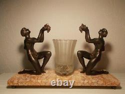 Lamp Art Deco 1930 Sculpture Statue Figurative Lamp Bronze Color 30s